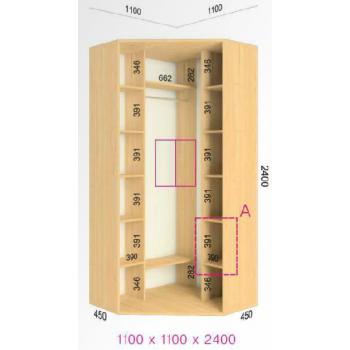 Шкаф купе  Стандарт угловой 1100x1100x2400мм. (2-х дверный)