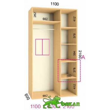 Шкаф купе  Стандарт 1100x600x2100мм. (2-х дверный)