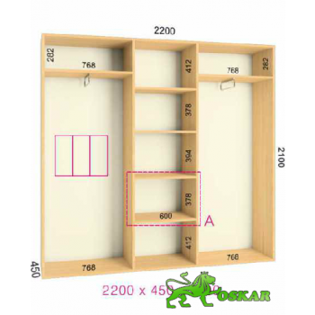 Шкаф купе  Стандарт 2200x450x2100мм. (3-х дверный)